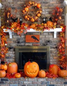Fireplace Halloween decorating ideas