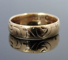 14k Rose Gold Wedding Band, Vintage, Soft Engraving