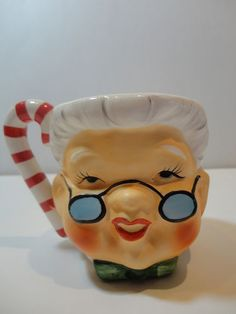 Vintage Lefton Christmas Double Faced RARE Santa Mrs Claus Mug | eBay