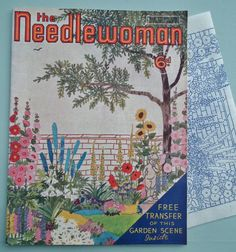 Vintage 1930s Needlework Magazine - The Needlewoman 1939 No. 203 - vintage sewing book - embroidery transfer - crochet knitting patterns