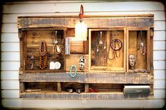 Rustic Wall Shelf Display Organizer with electric light. Made from Upcycled Wooden Pallets. $98.00, via Etsy.