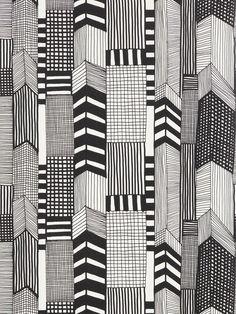 Marimekko Ruutukaava Wallpaper, Black / White, 14111