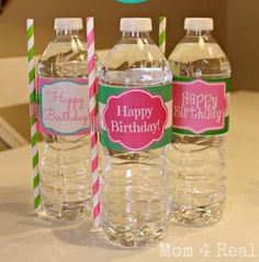 Free Printable Water Bottle Label. Instead of using glue or tape, try Avery 6470 full-sheet labels instead.