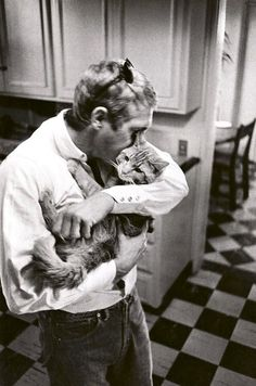 Steve McQueen with a cat