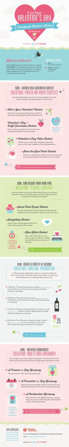 Your Fans Will Love You: 14 Last-Minute Valentine's Day Facebook Contests market idea, social media marketing, valentine day, infograph, guerrilla marketing, contest idea, lastminut valentin, facebook market, facebook contest