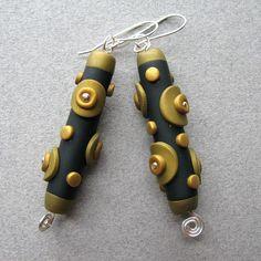 Roberta Wa, gold dot polyclay earrings on Etsy