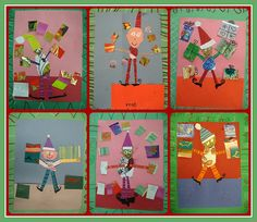 Elf Art - watercolor painting for the torso, scraps of construction paper for other body parts, cut up old Christmas cards for presents, sharpie and oil pastel for details.