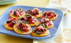 Baked Polenta with Ripe Olive Peperonata | Lindsay Olives