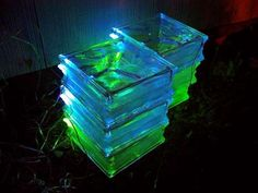 How-to-Make-a-Solar-Powered-Walkway with Glass Blocks!!  color and set over solar lights