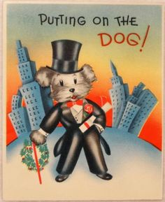 #1717 30s Unused Art Deco Dog in a Top Hat- Vintage Christmas Card-Greeting