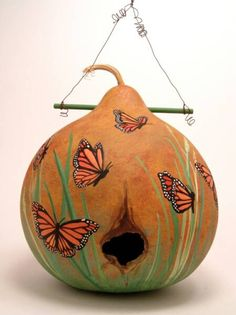 Gourd birdhouse.