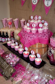 Incredible dessert table at a pink cowgirl party!  See more party ideas at CatchMyParty.com!