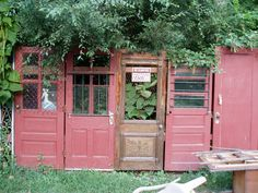 Fruit Loop Acres' beautiful back fence made from recycled doors.