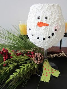 ~~Really cute idea use snow tex spray the wine glass let it dry then add a face with markers then pop in a battery light.