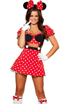 NEW Costume Womens Adult Minnie Mouse Mickey Disney Skirt Suspenders Sexy Ears !