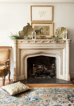 Neutral mantle-scape / fireplace mantle design with natural curiosities / Inside the NYC Home of Designer Michelle Smith