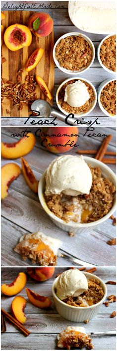Peach Crisp with Cinnamon Pecan Crumble by DelightfulEMade.com | Summer fresh peaches are topped with a brown sugar cinnamon and pecan crumble, and baked to perfection.  Served warm and topped with ice cream.  HEAVENLY!!  #crisp #peach #crumble #pecan #dessert