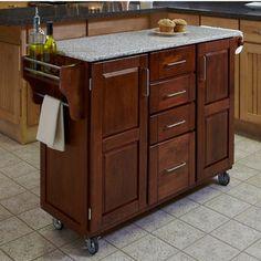 Kitchen Carts - Mix and Match Dark Cottage Oak Stained Kitchen Cart Cabinet w/ Granite Top  | kitchensource.com #kitchensource #pinterest #followerfind