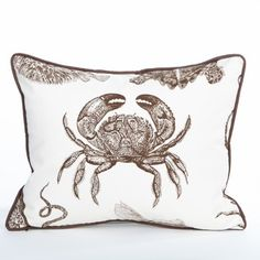 Crab Pillow / Chocolate - Hamptons Collection