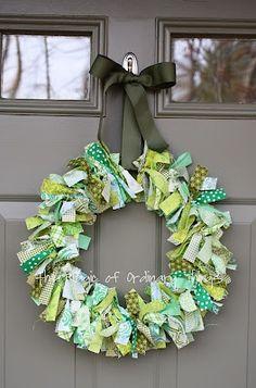 Make a rag wreath from fabric scraps!