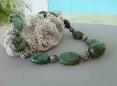 Lovely turquoise and sterling silver choker. 16.5 inches. Natural un dyed high quality turquoise