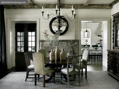 dining rooms, chair, dine room, fireplac, plank walls