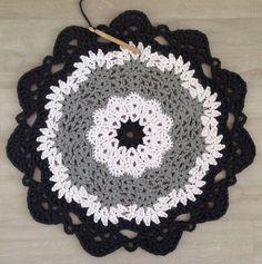 before - black, white and grey t- shirt yarn crochet doily - my own design - 60cm