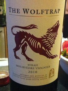 Wolftrap Syrah Mourvedre Viognier 2010  South Africa Ok a wolf is in the dog family, and I like the design of this wine label