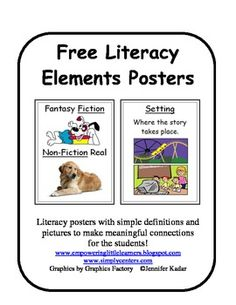 Free literacy posters with simple definitions and pictures to help build meaningful connections to the them!