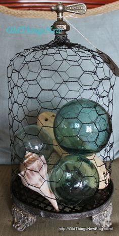 Seaside chicken wire cloches