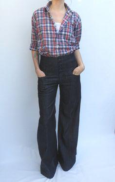 High Waist Jeans in Dark Denim Made to Order by trapperjane
