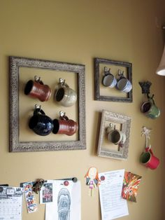 display coffee mug collection. maybe we could use the couple empty frames we have to do this?