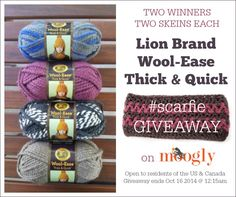 Lion Brand Yarn #Scarfie Giveaway on Moogly! Open to residents of the US and Canada, giveaway ends 10/16/14 at 12:15 am Central Time.