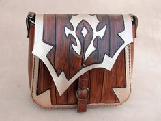 World of Warcraft-Leather bag-For The Horde-Leather purse-WOW-Geekery-tooled leather purse-GEEK leather bag by ForgianticaLeather    This item