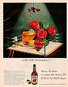 Vintage 1950s Four Roses Whiskey Ad Boxing Ring