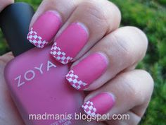 Pink nails with pink & white checkerboard French Manicure tips easy free hand nail art