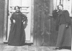 """A couple of ladies wearing wrapper style dresses about 1890 in front of a brothel in Saltese, Montana. From the Timothy Gordon Collection as found in Soiled Doves. These dresses were easy to """"do business in"""" as they were not as restrictive as other clothing common to the time."""