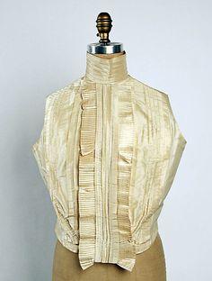Sleeveless silk shirtwaist, American, 1898-99.