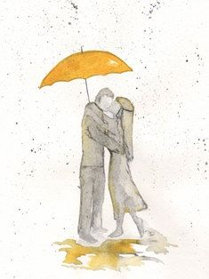Romance in the Rain Archival Watercolor Print by kellybermudez