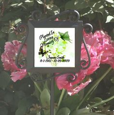Personalized Butterfly Memorial Garden Stake - Planted in Loving Memory - Ceramic Tile set in a Wrought Iron garden stake. $26.95 + shipping