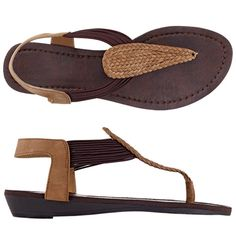 Leatherlike upper with stretch straps. Flexible footbed. Whole sizes only. Half sizes, order one size up.