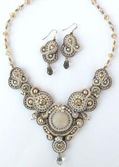 Fabuleux Crystal Regalia, earrings and necklace soutache technique