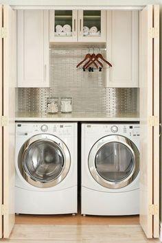 Closeted Laundry Room via Decor Pad