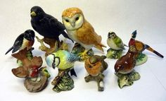 Six Beswick bird figures, owl, stonechat 2274, goldcrest 2415, blue tit 992, wren 993 and pheasant, and three other bird figures
