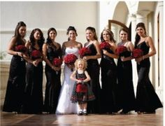 Red and black wedding party #goth wedding ... Wedding ideas for brides & bridesmaids, grooms & groomsmen, parents & planners ... https://itunes.apple.com/us/app/the-gold-wedding-planner/id498112599?ls=1=8 … plus how to organise an entire wedding, without overspending ♥ The Gold Wedding Planner iPhone App ♥
