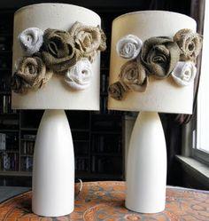 decor, rose, idea, burlap flowers, fabric flowers, lampshad inspir, lamp redo, shade, diy