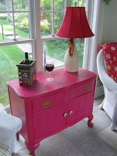 DIY painted furniture..I love the idea of a bright painted piece of furniture like this in a room..great storage plus cheefulness..♥