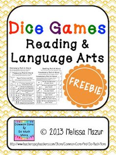 Dice Games Freebie! {6 GAMES}  - Dictionary Skills  - Thesaurus Skills   - Vocabulary  - Spelling  - Fiction  - Non-Fiction