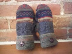 Sweater Mittens in dark southwest shades made by MadeAgainMittens, $18.50