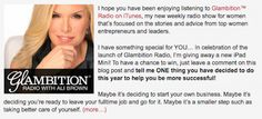 Learn more about Glambition Radio - a new [free] weekly radio show with Ali Brown for women, focused on the stories and advice from top women entrepreneurs and leaders. http://theinnerentrepreneur.com/AliBrownHome